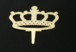 """3 royal crown signs gold mirror like acrylic 5"""" x 3"""" cake top pick decoration image 2"""