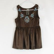 Brown blue satin ANDERSEN & LAUTH Reykjavik sleeveless peplum blouse XS - $34.99