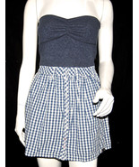 NWT SUPERDRY TOKYO VINTAGE women blue plaids BUBBLE DRESS button front *... - $39.99
