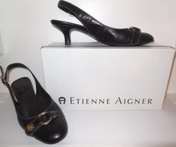 Etienne Aigner Leather Sling Back 8 M Black Kitten Heel NELLY Buckle wit... - $22.00