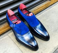 Handmade Men's Blue Suede and Leather Brogues Style Monk Strap Shoes image 1