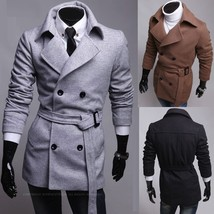 New Korean double breasted coat man coat of British fashion self-cultiva... - $78.34