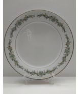NORITAKE  BARCELONA Dinner Plate  White w/Green and Brown Leaf Gold Trim - $10.84