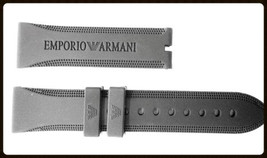 22 mm jenuine rubber EMPORIO ARMANI black watch band strap+ deployment clasp - $29.98