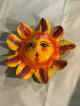 Mexican Folk Art Hand Painted Coconut Shell Yellow Sun w Flowered Mane W... - $18.80
