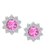 1.50 CT Round Pink Sapphire & White CZ Halo Stud Earrings 14K White Gold... - $54.44