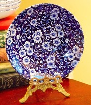 "Vintage Staffordshire Calico Saucer Blue Floral Made In England 5.5"" W c.1960's - $19.99"