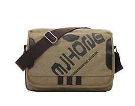 Trendsetter Item/Casual Letter Canvas Messenger&Shoulder Bag/Khaki (341125cm)