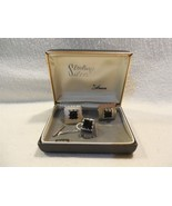 Vintage Anson Sterling Silver Black Onyx Cuff Link & Tie Tack Set With Box - $29.95