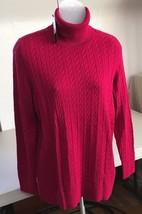 NWT Talbots 100% Cotton Women's SZ X Sweater Bright Pink Turtleneck E15 - $49.49
