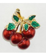 Vintage 4 Bright Red Cherry Enamel Brooch Pin   - $18.20
