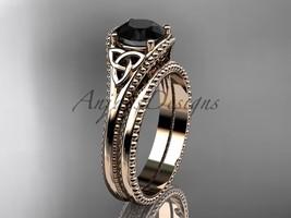 Black Diamond Celtic knot wedding rings sets 14k rose engagement ring CT7375S - $1,335.00