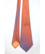 Vintage Fashion Imported Silk Neck Tie Rust & Blue Sheen Bias Cut Skinny... - $44.55
