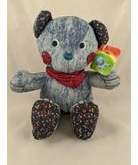 "Russ Razz Bear Plush Sits 9"" Denim Stuffed Animal toy - $44.95"