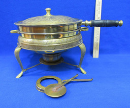 Vintage Nader Chafing Food Warmer Kettle Pan # 27232 Lined Brass 6 Pc Unit - $41.57