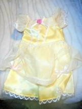 2004 DISNEY BRIGHT YELLOW DRESS WITH SHIMMERY OVERSKIRT AND SLEEVES PINK... - $7.69