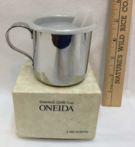 "Stainless Steel Sippy Cup Oneida Plastic Lid 3"" Spill Proof USA Made Mug... - $19.75"