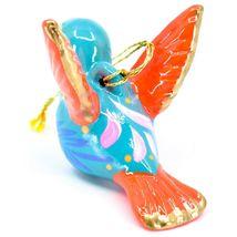 Handcrafted Painted Ceramic Blue Hummingbird Confetti Ornament Made in Peru image 3