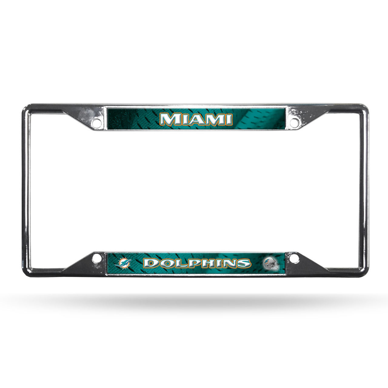 MIAMI DOLPHINS CAR AUTO CHROME METAL EZ View LICENSE PLATE FRAME NFL FOOTBALL