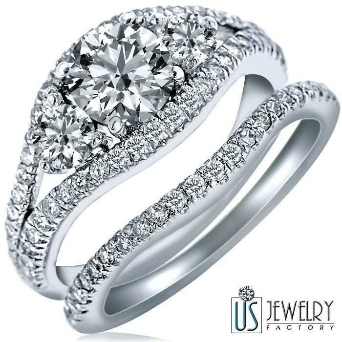 Primary image for 2.06 CT (1.02) E-VS2 ROUND DIAMOND ENGAGEMENT RING WEDDING BAND 14K WHITE GOLD