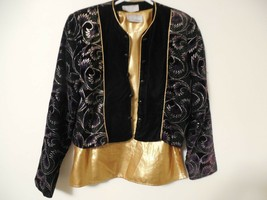 Womens Petite Jacket 6 Fancy Lined multi color long sleeve button & gold... - $5.92