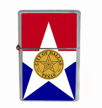 Dallas Texas Rs1 Flip Top Oil Lighter Wind Resistant With Case - $12.82