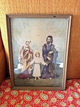 Vintage Print Picture The Holy Family Mary Joseph Jesus the Child Framed... - $29.69