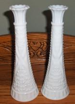 "2X Anchor Hocking 9"" White Milk Glass Stars & Bars Bud Vase Wedding Shower Party - $10.99"