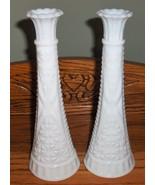"2X Anchor Hocking 9"" White Milk Glass Stars & Bars Bud Vase Wedding Show... - $10.99"