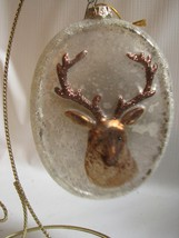 Oval Mercury Glass Ornament  STAG in Raised Relief Bethany Lowe - $11.87