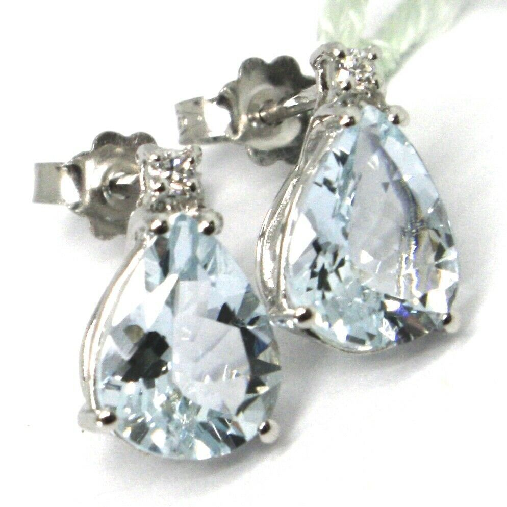 18K WHITE GOLD AQUAMARINE EARRINGS 3.20 CARATS, DROP CUT, DIAMONDS, ITALY MADE