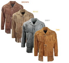 Men's New Brown Western Native American Cow Suede Leather Fringe Jacket FJ41  image 4