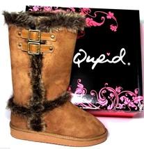 Qupid Oakley-92 Womens Faux Suede Double Buckle Flat Bottom Winter Boots CARAMEL - $16.13