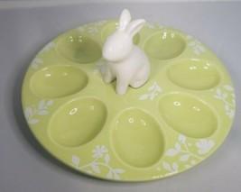 Magenta Deviled Egg Plate Easter Bunny Rabbit Green Damask Floral Spring... - $32.99