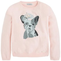 Mayoral Tween Girls Angora Blend Crown Bull Dog Intarsia Knit Sweater image 1