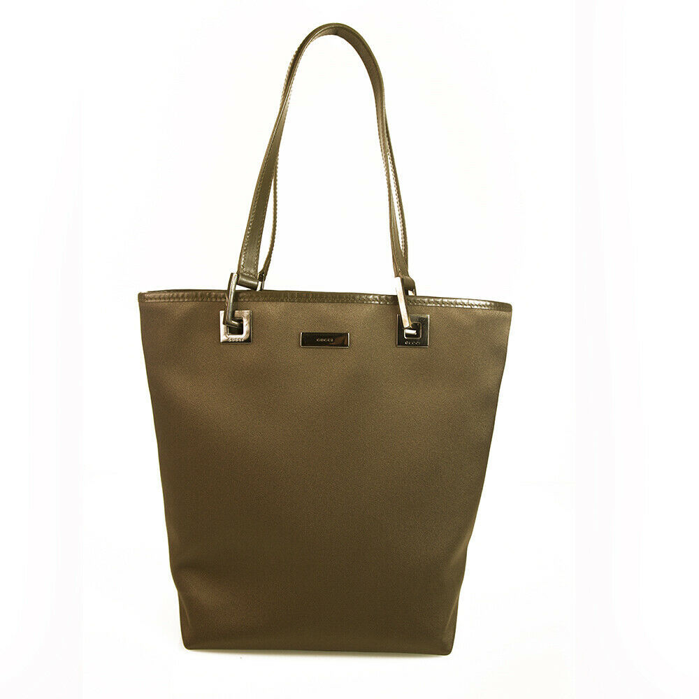 GUCCI Khaki Green Satin Canvas Leather Trim & Handles Medium Tote Bag Handbag