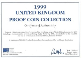 1999 Great Britain 9 Coin 1 Piece C.O.A. And Document Set~No Coins - $3.91