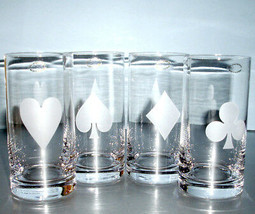 Kate Spade Gin Rummy Highball Set/4 Glasses Crystal Frosted Card Suit Lenox New - $135.90