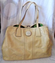Vintage cream colored large Coach Satchel with green lining   (Lot PS) - $40.00