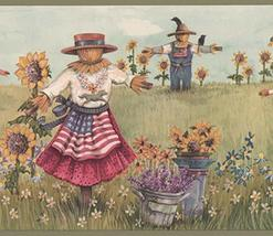 Vintage Scarecrows with American Flags on the Sunflower Field Country Wa... - $16.33