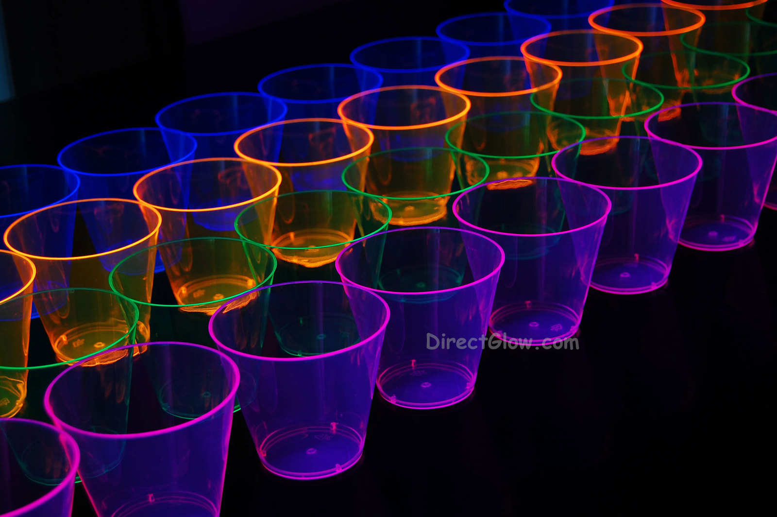 Assorted Neon Blacklight Reactive 9oz Party Cups 100ct