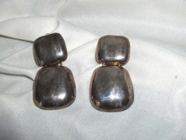 Vintage Norma Jean Hammered Silver Dangle Clip Earrings Costume Signed NICE - $45.00