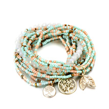 Bohemian Style Tree Of Life Pastel Charm Beads Bracelet Birthday Gift For Women - $19.78