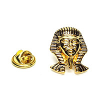 Detailed Gold Plated Pharoah King Tut Mask gold Badge Lapel /tie Pin Badge  with