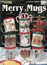 Merry Mugs in Counted Cross Stitch Leisure Arts 2357 1993 Holiday Christmas - $4.99