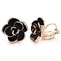 Yoursfs Clip on Earrings For Women Black Enamel Rose Flower 18k Gold Pla... - $16.25
