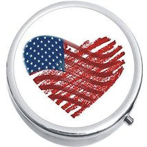 Heart US Flag Medicine Vitamin Compact Pill Box - $9.78