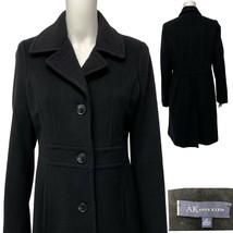 AK Anne Klein women's long coat trench black wool button front size M - $69.08