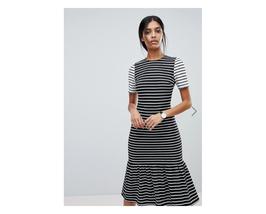 Asos Midi Dress with Pep Hem In Mono Stripes Size US 10 NWT - $29.69
