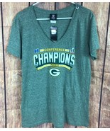 NFL Team Apparel Green bay Packers V Neck T-shirt green 2016 Champions W... - $17.91